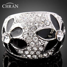Chran Fashion Silver Plated Sparkling Crystal Finger Rings for Women Classic Enamel Flower Design Jewelry