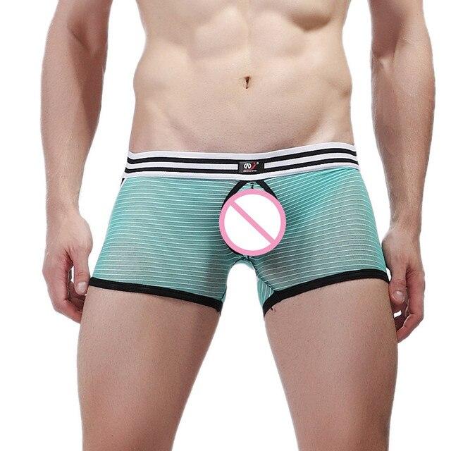 571eb0c7572 AIIOU Sexy Men Mesh Underwear Boxer See Trough Funny Trunks Gay Transparent  U Convex Pouch Couples Underwear Men Boxer Shorts