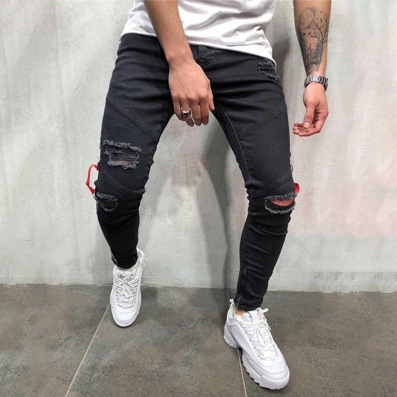 Fashion Streetwear Men's Jeans Vintage black Color Skinny male Destroyed Ripped Jeans Broken 2019 Hip Hop denim pants