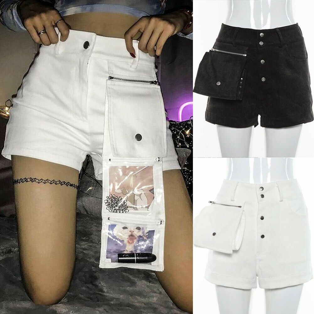 Cool Hip Hop Punk Summer Women's High Waist Button Shorts Summer Casual Shorts with Folded Satchel Big Pocket