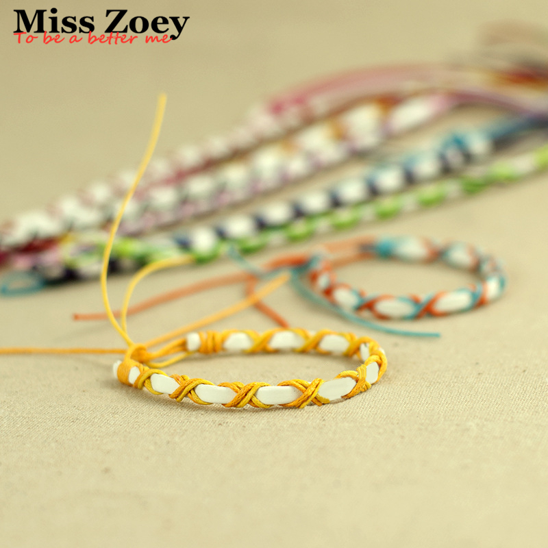 ABL052 120 Brazilian Cheap Colorful Rainbow Handmade Leather Cord Weave Braided Rope String Strand Friendship Couple