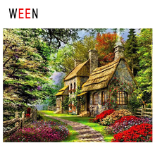 WEEN Forest Path Diy Painting By Numbers Abstract Cabin Oil On Canvas Tree Road Cuadros Decoracion Acrylic Home Decor