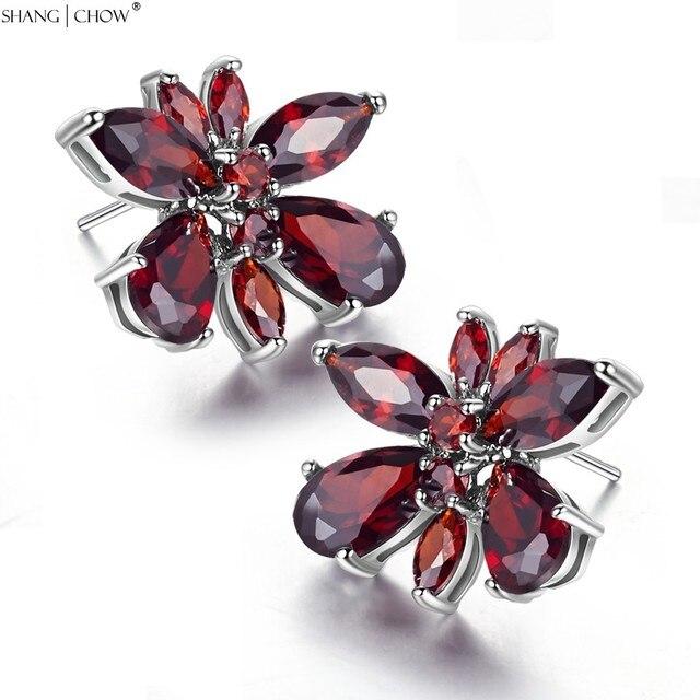 Новая Мода для Животных Ювелирные Изделия для женщин Гранат Стерлингового Серебра 925 Бабочка Серьги E0390