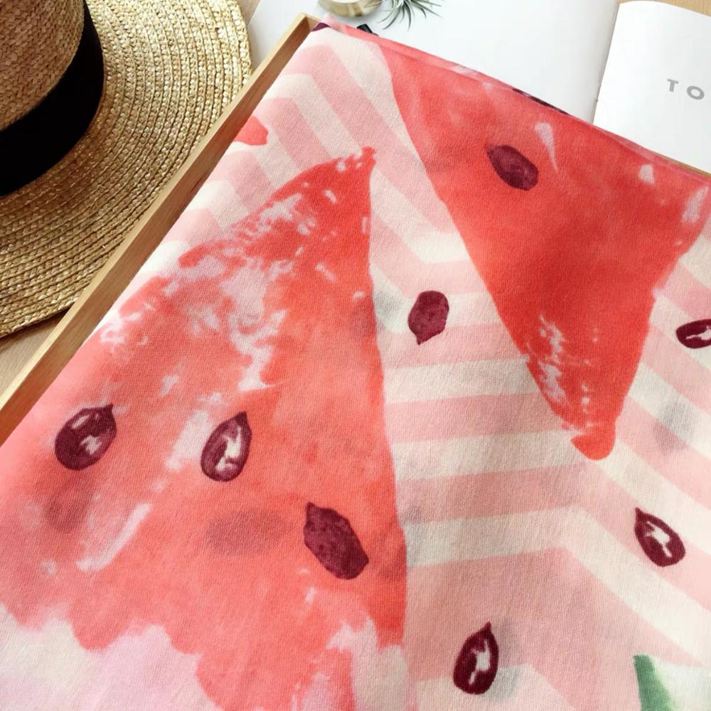 KYQIAO Women Vintage Watermelon Head Scarf 2019 Mori Girls Autumn Spring Spain Style Hippie Ethnic Long Red Fruit Print Scarf
