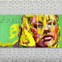 Palette knife portrait Face Oil painting Character figure canva Hand painted Francoise Nielly wall Art picture for living room63