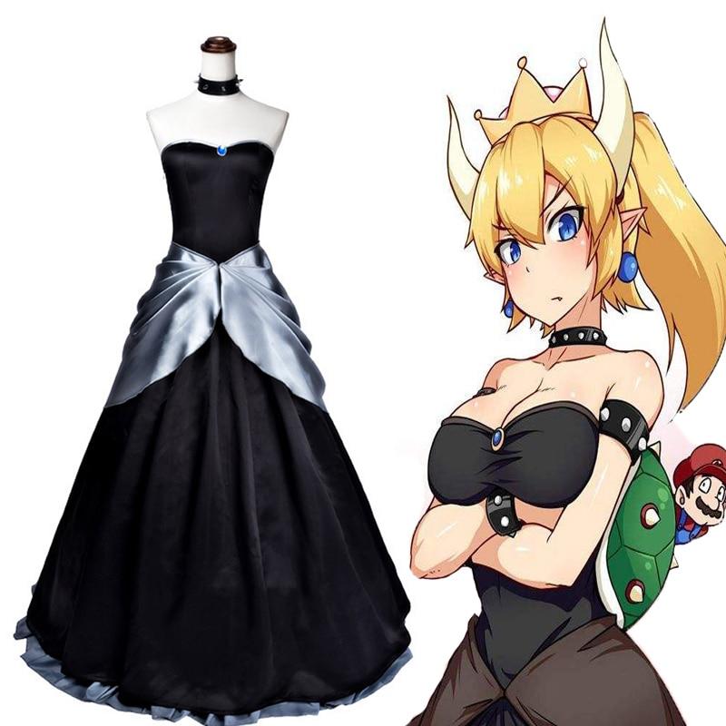 Anime Super Mario Cosplay Costumes Bowsette Princess Kuppa Koopa Cosplay Dress Halloween Christmas Party Women Sexy Dress
