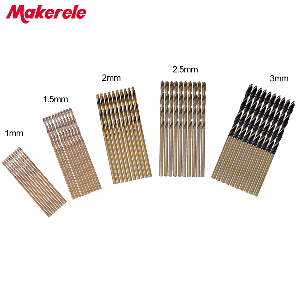 New 50Pcs/Set Twist Drill Bit Set HSS High Steel Titanium Coated Drill bits Woodworking Wood Tools 1/1.5/2/2.5/3mm For Metal 99pcs mayitr hss drill bits set titanium coated woodworking drilling tools 1 5mm 10mm