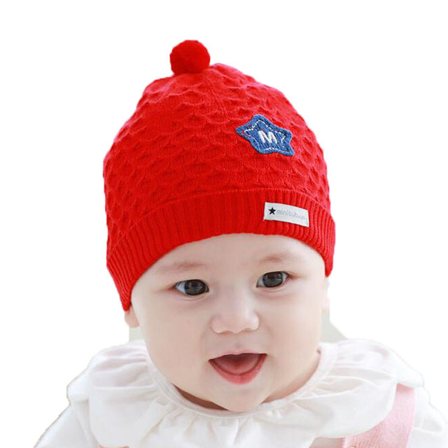 ee57c4bf Unisex baby Knit Cable Beanies Hats Kids Child Letter Patch solid color Winter  Warm Caps Skullcap MZ5127