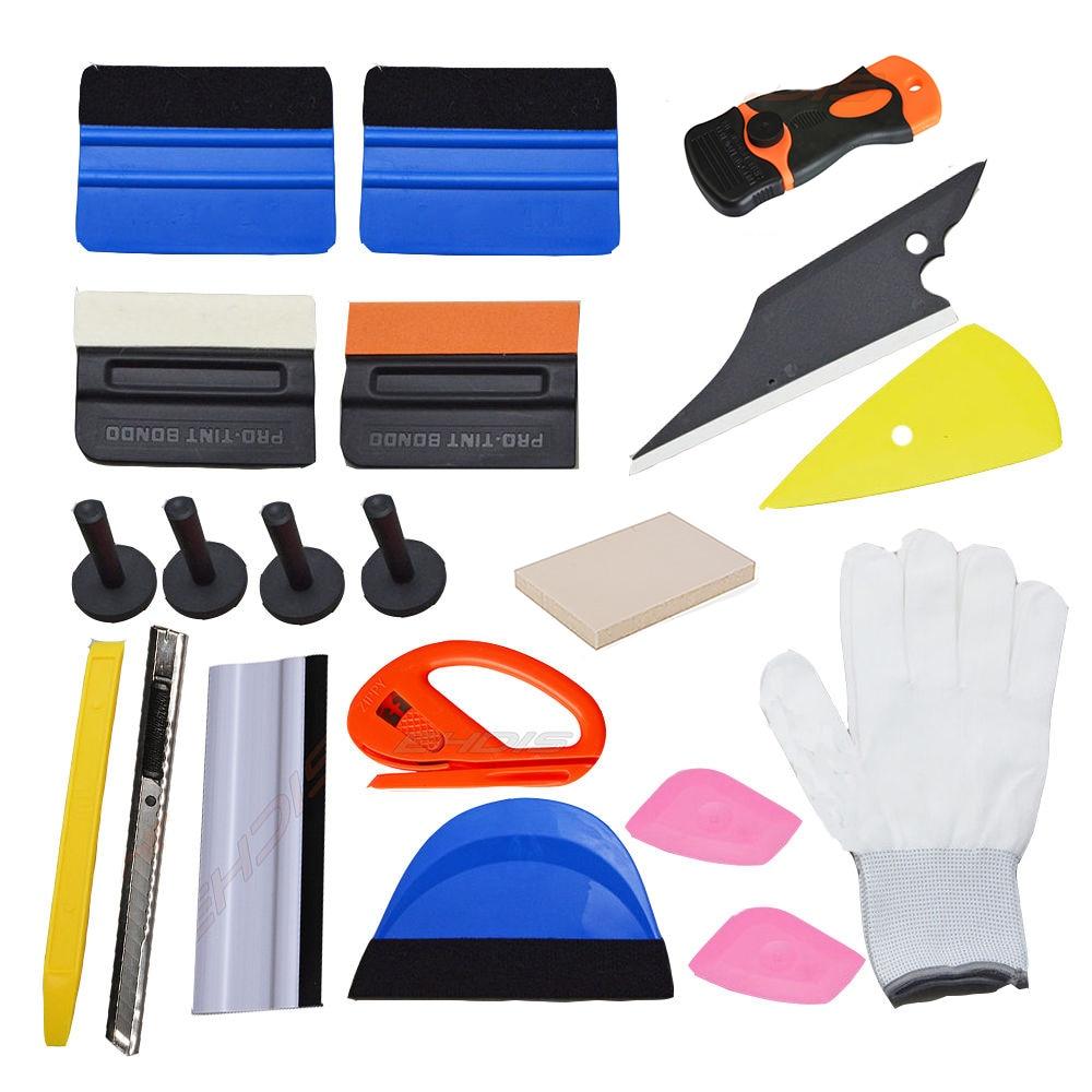 EHDIS 21 pièces Kit d'outils de teinte de fenêtre vinyle voiture décalcomanies pellicule de film outils raclette de nettoyage grattoir avec couteau de coupe support magnétique