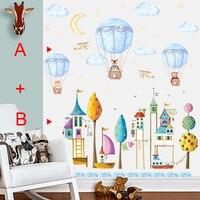 Наклейка s enfant мультфильм животное горячий воздушный шар стикер на стену для детской комнаты детская спальня наклейки на стену самоклеющие...