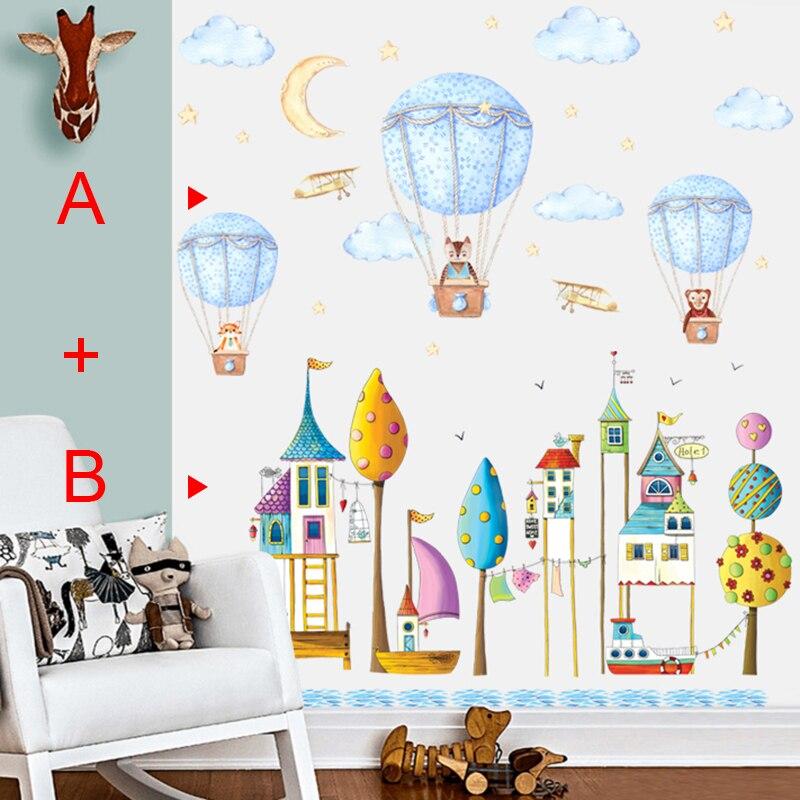 Autocollants enfant dessin animé Animal ballon à Air chaud Sticker mural pour enfants chambre enfants bébé chambre stickers muraux auto-adhésif peintures murales