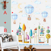 stickers enfant Cartoon Animal Hot Air Balloon Wall Sticker For Kids Room Children Baby Bedroom Wall Decals Self-adhesive Murals
