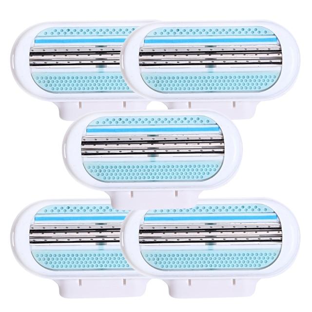 5 шт./лот Красота женская безопасность профессиональная бритва для женщин 3 слоя лезвия для бритвы Сменная головка