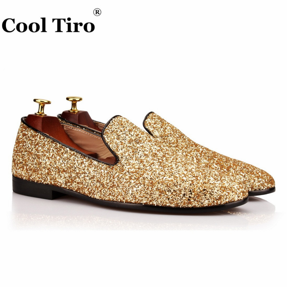COOL TIRO Smoking Slippers Golden sequins Fashion Small round Toe men  Loafers wedding and party noble slip on flats shoes 0a9754d3fc6e