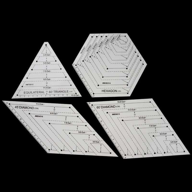 4Pcs Quilting Ruler Sets Patchwork Plastic Template Handmade Quilt Templates Stencil Diamond Grade Ruler Triangles Hexagon /& Diamond Acrylic Patchwork Rulers DIY Sewing Tools Knitting Craft Accessory