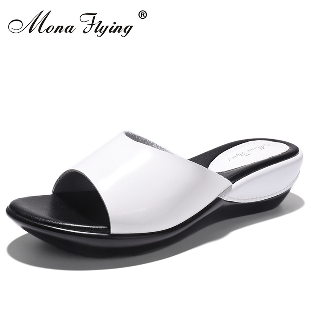 Women Flat Platform Slides Shoes 2017 Summer Brand Women Leather Wedges Platform Slippers Sandals For Women Casual Slippers 877 concise platform and bow design slippers for women