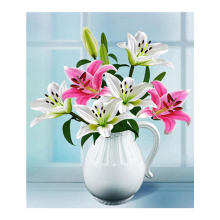 White Lily Diamond Painting Full Round floral New DIY Sticking Drill Cross Embroidery 5D Vase still life simple Home Decoration