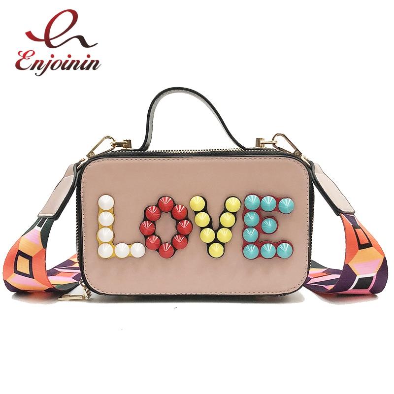 Trendy Colored Rivets LOVE Personalized Geometric Color Straps Womens Crossbody Messenger Bag Handbag Shoulder Bag Ladies Purse