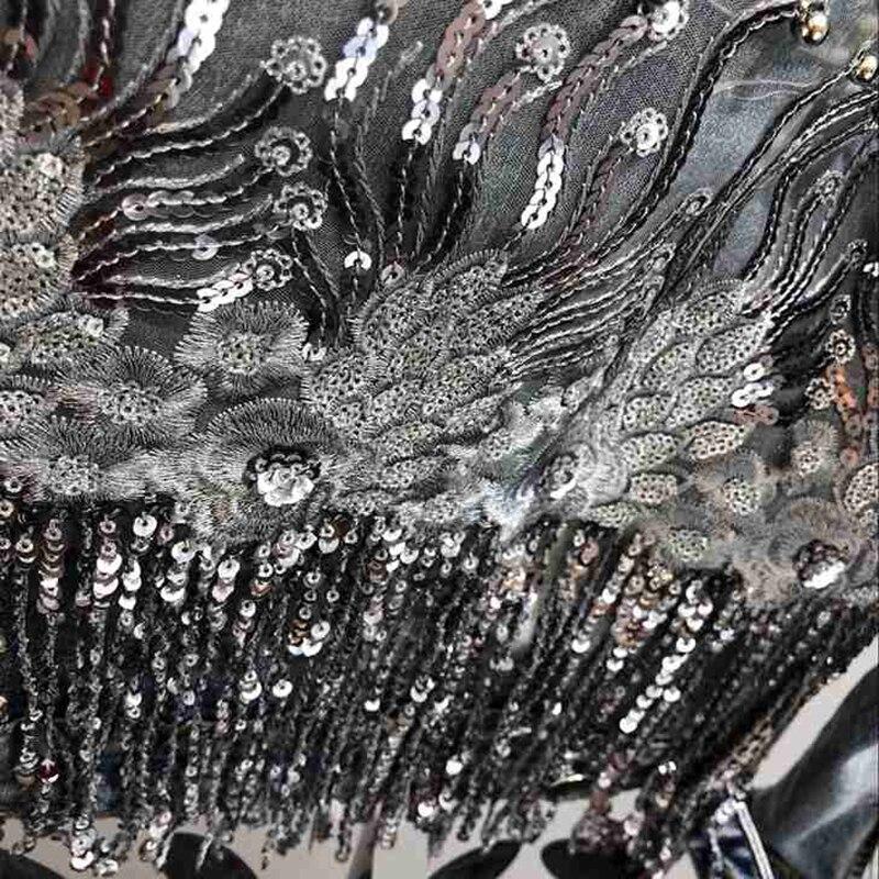 Mode fait à la main perle Rivet Denim veste femmes Rivet gland Slim Jeans veste courte paillettes Jeans veste décontracté fille Outwear - 3