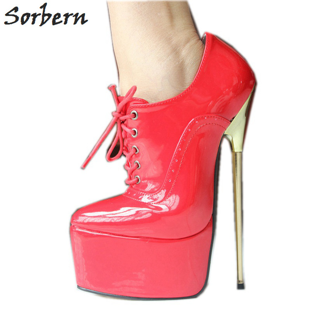 Sorbern Red Patent Leather Lace Up Pumps Women Shoes 22Cm High Heel Pointed Toe Thick Platform Sexy Fetish Gold Metal Heel Shoes