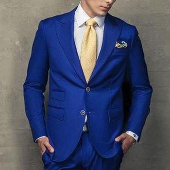 Handsome Style Two Button Royal Blue Groom Tuxedos Peak Lapel Groomsmen Best Man Mens Wedding Suit (Jacket+Pants+Tie) W:349