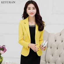 2018 Black Yellow Blue Formal Female Blazer Jackets Short Blasers Mujer Women's Slim Long-Sleeve Woman Suits Coat Jacket L2278