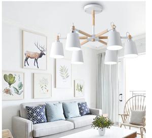 Image 4 - Lustre en bois massif et en fer, design moderne, éclairage dintérieur, luminaire décoratif De plafond, idéal pour un salon, LED