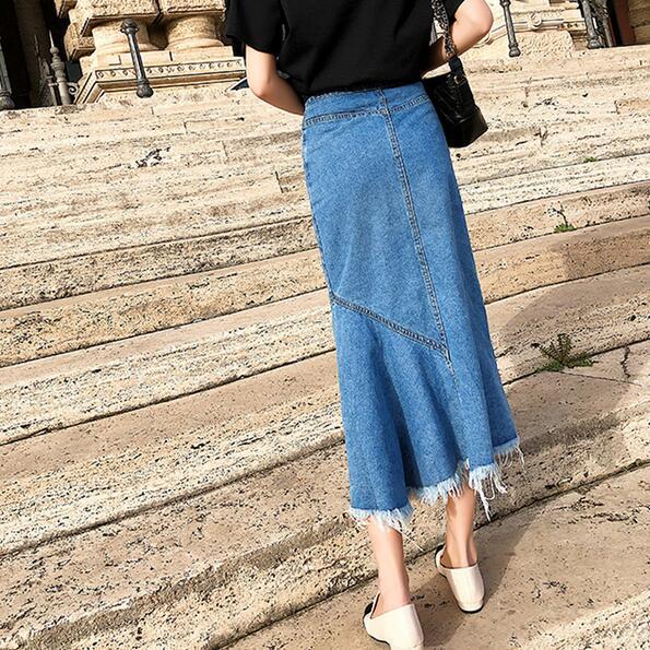 De 2019 El Irregular Cintura Alta Flecos La Jean Botones Informal Faldas Cadera Bajo Midi Mujeres Df605 Falda Paquete En wTTq1gXRn