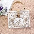 Fashion women  gold diamond relief Acrylic Ballot lock luxury handbag evening bag clutch for party purse