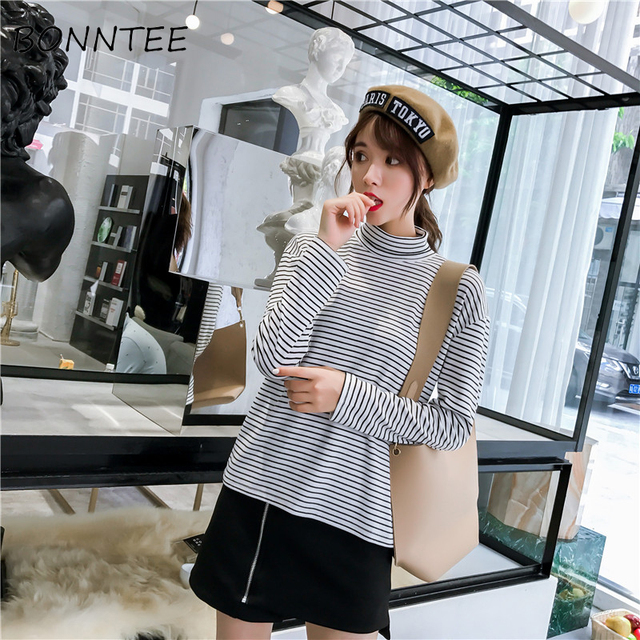 T Shirts Women Striped Harajuku Korean Style Long Sleeve Chic