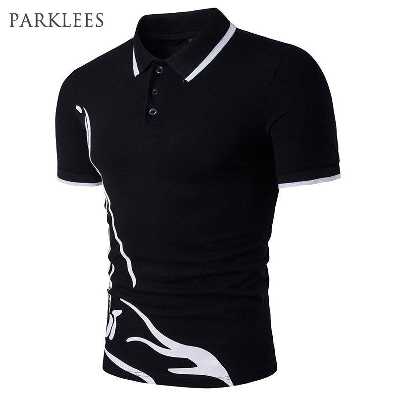 Printed   Polo   Shirt Men Short Sleeve Casual Slim Fit Male Tops   Polo   Homme 2017 Brand Design Mens Hipster Cotton Man   Polo   Shirts
