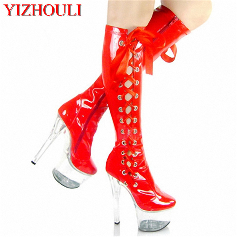 Red Lacing sexy bride crystal boots 15cm high-heeled shoes steel pipe dance shoes sexy clubbing 6 inch high boots for women new trend women sandals sexy 6 inch high heel slipper appliques pretty girl clear shoes 15cm sexy high heeled crystal shoes