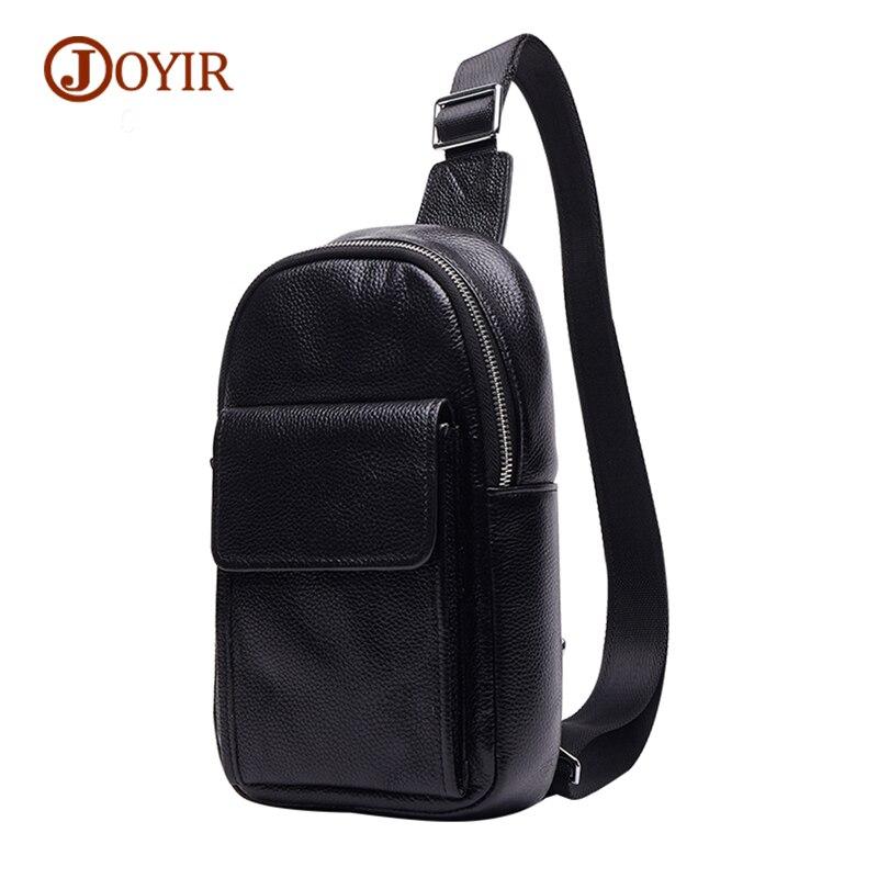 JOYIR Famous Brand Chest Bag For Men Messenger Bags Male Cow Leather Zipper Men Bag Mini Crossbody Bag