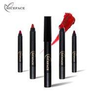 NICEFACE Su Geçirmez Ipeksi Kırmızı Rujlar Kalemler Setleri + Makyaj Çıkarıcı Jel + Kalemtıraş Uzun ömürlü Mat Rujları Kalemler Seksi renkler