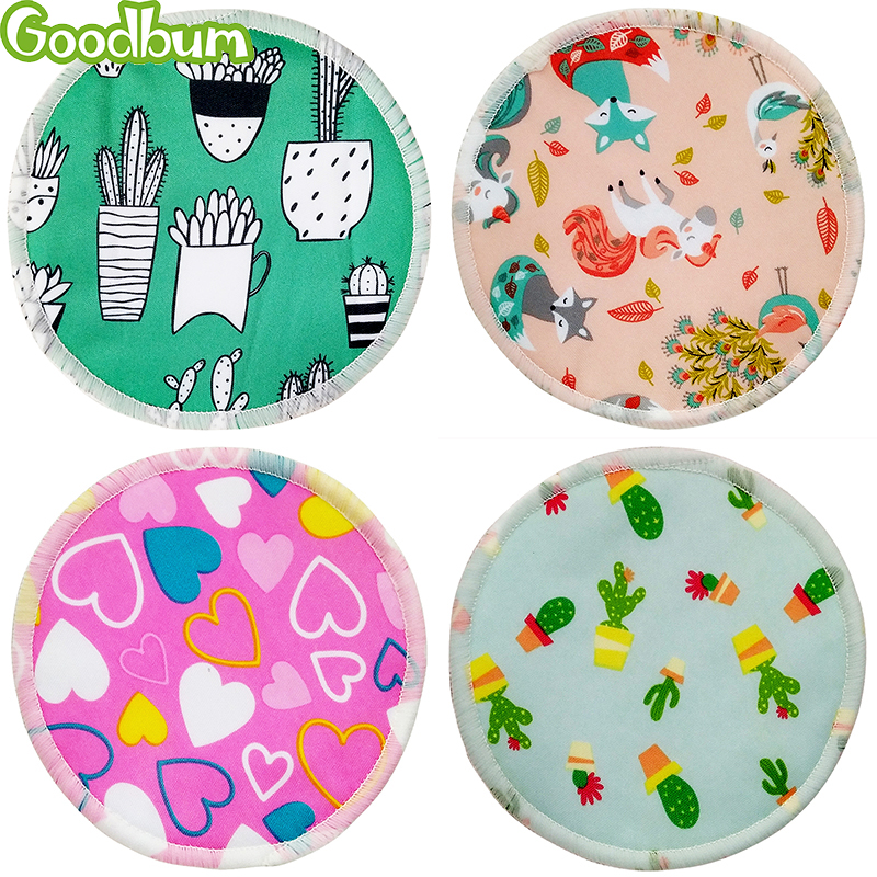 Goodbum Postpartum Mommy Breastfeeding Pads Bamboo Fiber Breast Pads Printed Washable Multi-Color Skin Friendly Breathable 8PC