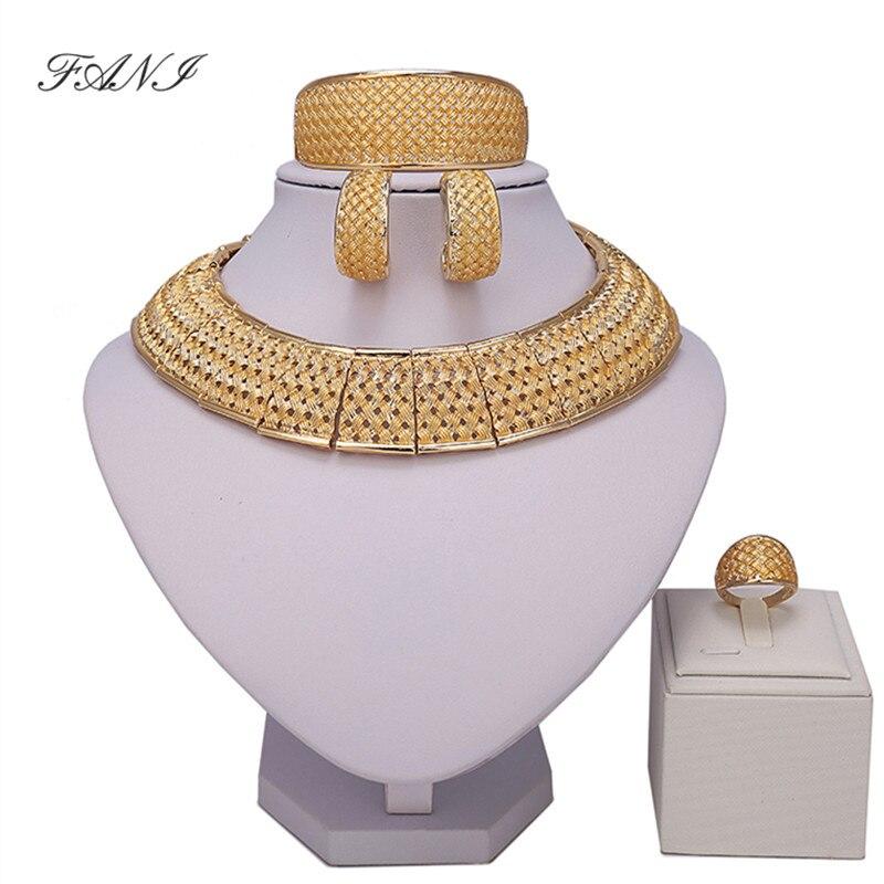 Fani African Jewelry Sets Women Wedding Dubai Goldcolor Crystal Jewelry Set Customer Bridal Accessories