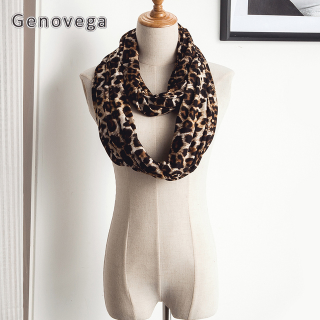 Genovega mujeres bolsillo leopardo bufanda caliente infinito bufanda ...