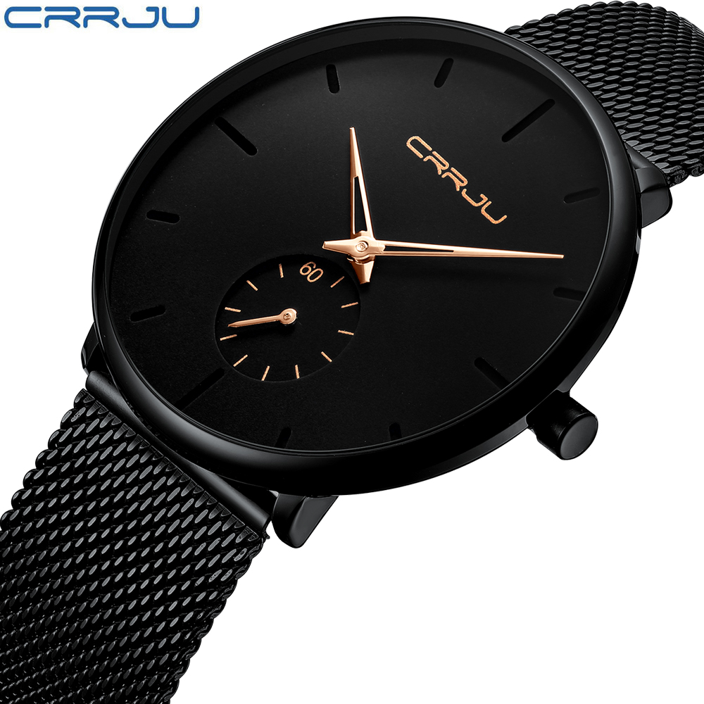 Luxury Men Quartz Watches CRRJU Stainless Steel Ultra Thin Men Business Wrist Watch Casual Waterproof Male Sport Watch Clock longbo ultra thin stainless steel quartz wrist watch for men silver