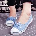 Nova primavera Deslizamento em sapatas de lona Da Forma Da Mulher Sapatos de Cores Doces Sapatos Brancos Mulher Flats Para senhora Tamanho 35-40 7d34