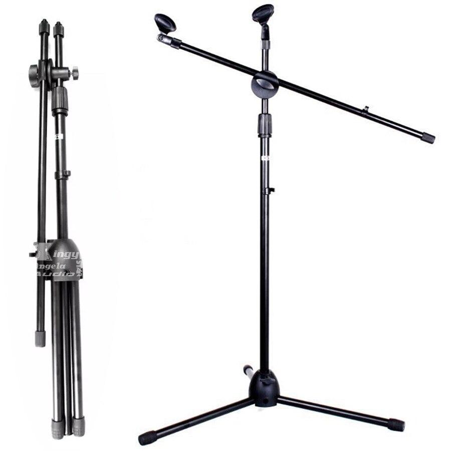 Купить с кэшбэком Professional Tripod Fold Holder Dynamic Wired Studio Microphone Stand Floor Condenser Mic Clip For Wireless Karaoke System Stage