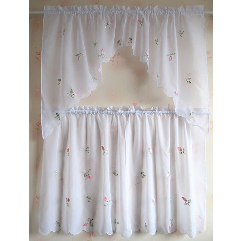 Kitchen Window Cafe Curtains: Lovely Design Kitchen Curtains Sheer Cafe Rural Style