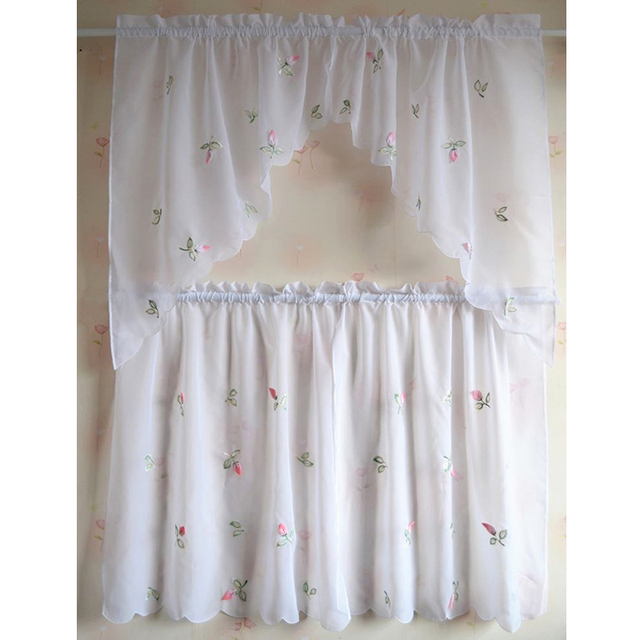 Lovely Design Kitchen Curtains Sheer Cafe Rural Style Embroidered Pepper Fl Curtain For Window