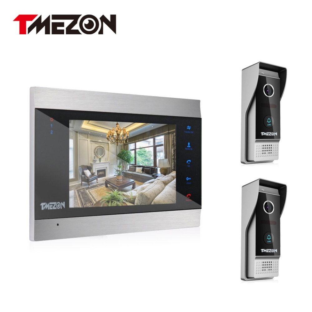 Tmezon Video Door Phone System One 7 Color Monitor 2Pcs 1200TVL Outdoor Doorbell Camera Waterproof Auto-IR Night Vision 1V2 Set tmezon 4 inch tft color monitor 1200tvl camera video door phone intercom security speaker system waterproof ir night vision 4v1