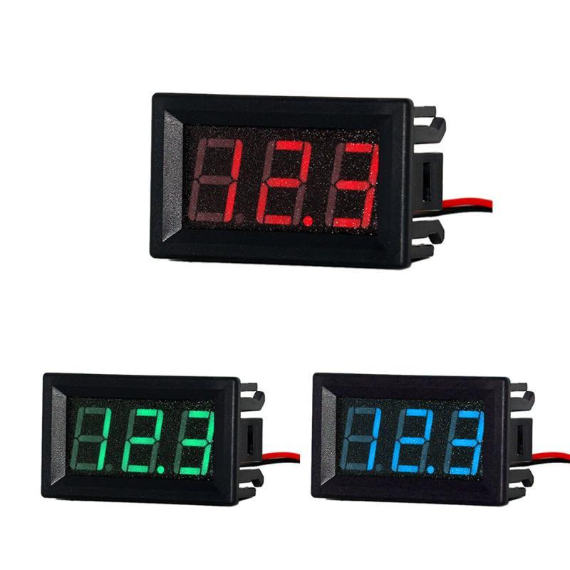 Universal Mini DC 0.56in DC 2.5V-30V 2 Wires LED Panel Voltage Meter Digital LED Display Voltmeter Red Green Blue Color