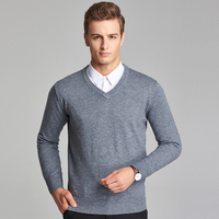 2016 New Style Mens Autumn Formal Plain Colors V Neck Long Sleeve Wool Pullover Sweaters
