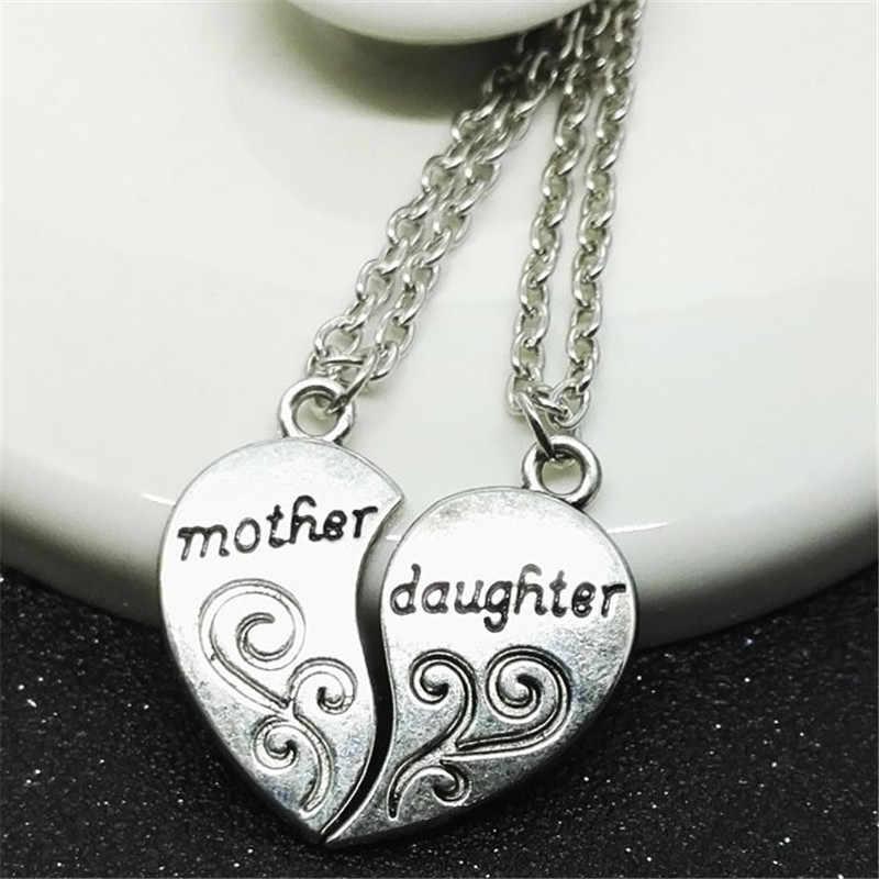 2 Pcs Moda Colar Do Amor Do Coração de Prata Banhado A Mãe Filha Mãe Cadeia Colares & Pingentes Para As Mulheres Jóias S4