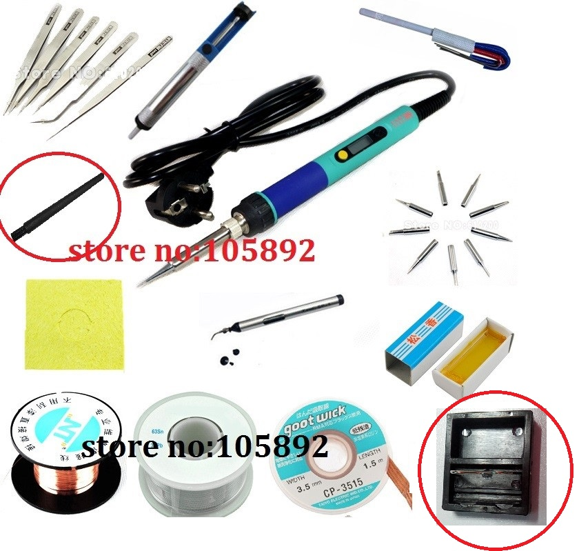 936D Digital LCD Adjustable Electric soldering iron or 936 Soldering station kit set Welding repair kit SET Tweezers/Solder tip 936 soldering station 220v 60 65w electric soldering iron for solder adjustable machine make seals tin wire solder tip