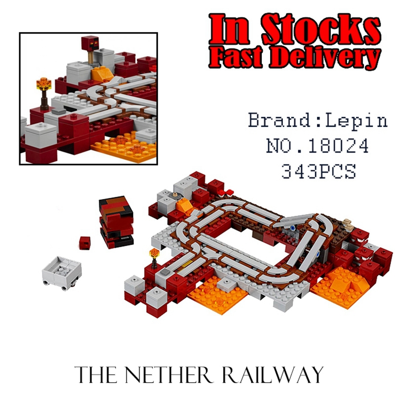18024 Lepin 343pcs Minecraft My World The Nether Railway action anime figure Building Blocks Bricks Toys For Children gift 21130