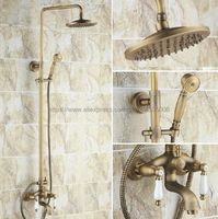 Shower Faucets Antique Brass Shower Set Faucet Tub Mixer Tap Handheld Shower Wall Mounted Brs042