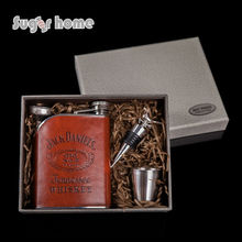 Heißer verkauf 6 unze jack daniels whisky 304 # edelstahl flachmann Geschenk box personalisierte liquor flagon wodka rum alkohol kolben